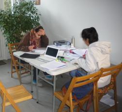 En salle d'études