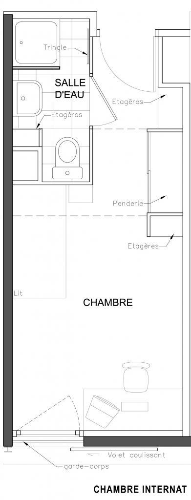 Centre ozanam internat et externat pour tudiants lyon for Plan d une chambre
